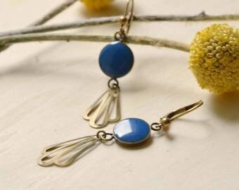Retro blue resin and brass bronze earrings