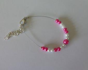 Bracelet white Fuchsia bead wire hypoallergenic available on wedding