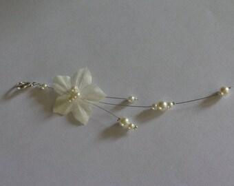 back wedding ceremony ivory wedding Silk Flower necklace jewelry