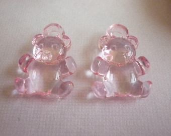 Charms sold in sets of two transparent pink bears.