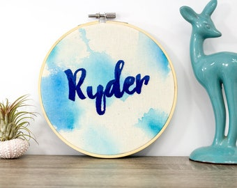 boho name nursery decor - cursive name sign - birthday gift - personalized embroidery hoop - name wall hangings for kids rooms