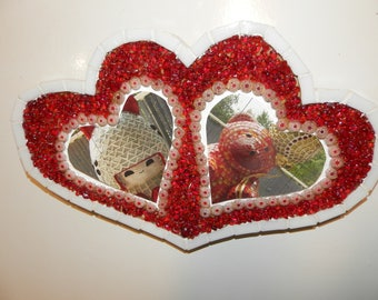 Fancy mosaic heart shaped picture frame red and white tone
