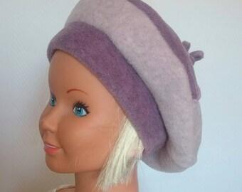 Beret two-tone fleece girl.