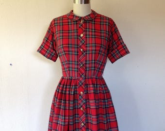 1950s Red plaid cotton day dress