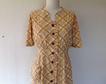 1930s Yellow plaid day dress