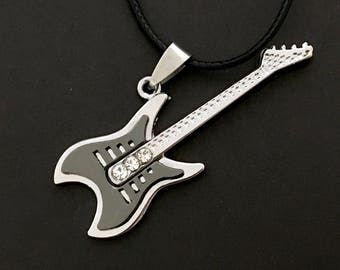 Guitar Necklace , Free Shipping , Men , Teens , Band , Notes , Music , Rhinestones