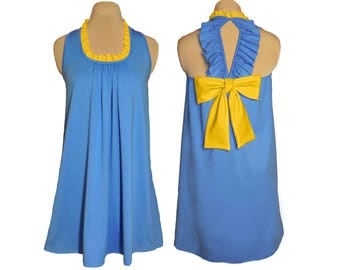 Light Blue + Bright Gold Back Bow Dress