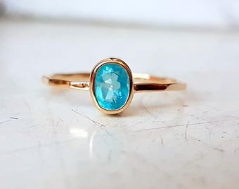 Gold Ring 14k with natural Paraiba blue Apatite - blue Apatite Gold Ring 14k - Yellow Gold Ring - White Gold Ring - Rose Gold Ring