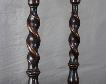 Oak Barley Twist Candlesticks