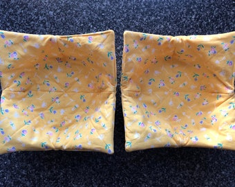 Microwave Bowl Holder Pair - Yellow Floral