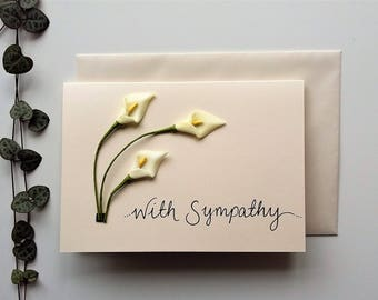 A6 Sympathy Card - curved lilies - with sympathy card, bereavement card