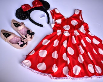 Ready to Ship! Minnie Mouse Dress, Red and White Polka Dots - Size 3T