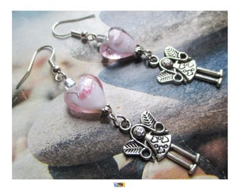"""""""Fairy of love and heart lampwork glass"""" earring on silver metal"""