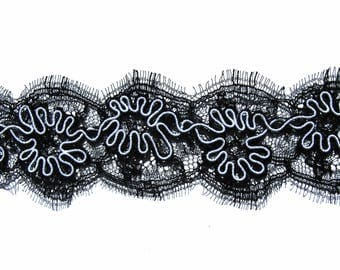 Calais black white Bumblebee 4.5c embroidered black chantilly lace trim