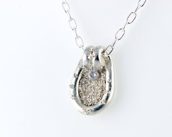 Pendant silver 999 set white cubic zirconia and 925 sterling silver necklace
