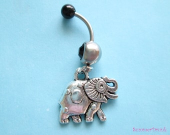 Elephant belly button ring , Navel ring, Belly button Jewelry, Belly button piercing, Belly button ring,Boho belly ring,Elephant belly ring