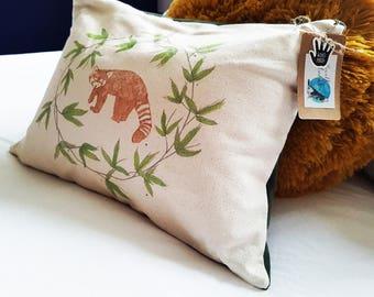 Handmade Red Panda Cushion   Organic Cotton   Matte Velvet   Forest Green   Rustic   Interior