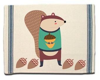 Winter Squirrel Kitchen Towel Dish Towel  Tea Towel  Flour Sack Material  Woodland Animals Dish Towel  Flour Sack Kitchen Towel Dish Cloth