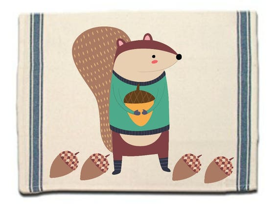 Winter Squirrel Kitchen Towel|Dish Towel| Tea Towel| Flour Sack Material| Woodland Animals Dish Towel| Flour Sack Kitchen Towel|Dish Cloth