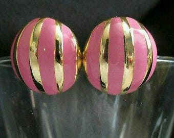 Vintage Pink Ball Striped Earrings Button Goldtone Stud Round Pierced shiny Circus Earrings Button Stud chunky earrings Retro Mod Earrings
