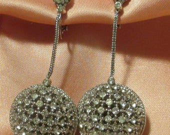 Ciner Pave Ball Earrings Dangle Drop Crystal Rhinestone Art Deco Designer Couture Gatsby 1940s Bridal Silvertone wedding Clip On flapper