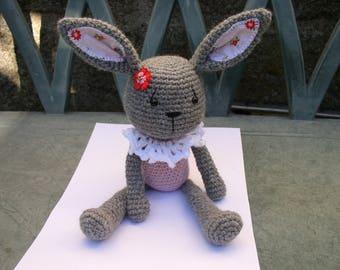 Bunny amigurumi grey and pink wool and alpaca
