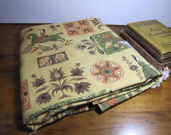 """Heavy Cotton Fabric - 2 1/2 Yards - 53"""" Wide - Deep Yellow, Green, Orange and Brown"""