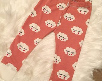 Girls Happy Cloud Leggings Pink White Baby Toddler Age 12-18 months