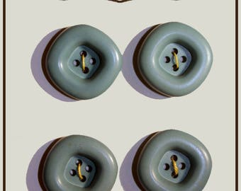 Set of 4 buttons colored green plastic 20 mm