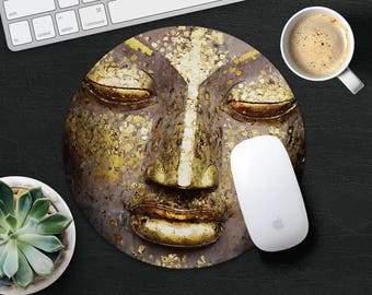 Gold Buddha Mouse Pad Yoga Mouse Mat Round Mouse Pad Fabric MouseMat Gift for Him Her MousePad Rectangular Mouse Mat Desk Office Supplies