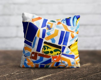 Tile Pillow Cover Morocco Cushion Cover Yellow Blue PillowCase Modern Throw Pillow Cover Decorative Silk Pillow Satin Luxury Decor Her Gift