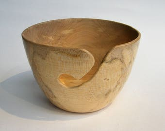 """Wooden Yarn Bowl- Hand Turned Sycamore Wood. 6"""" inch diameter. #3"""