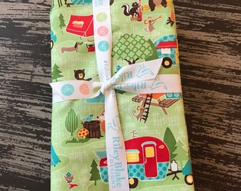 Camping Fabric, Glamping, Road Trip by Riley Blake, 6 Piece 1/2 Yard Bundle in Green