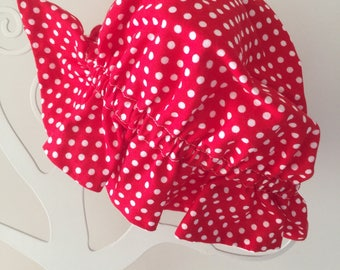 Baby girl hat, sun hat, reversible hat with elastic red polka dot