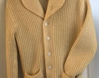 Vintage Wool Cardigan, Vintage Wool Fisherman's Cardigan, Vintage Wool Ballantyne Coat, Scottish Wool Sweater,