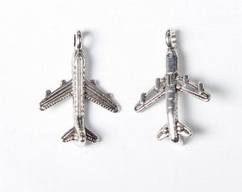 15 Aeroplane Airplane Plane Fly Antique Silver Charms 15mm x 22mm (363)