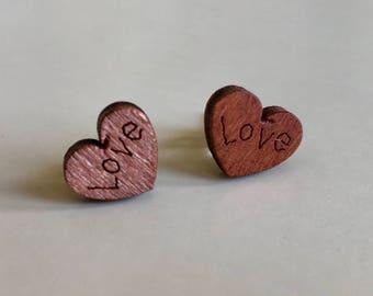 Valentine Heart Earrings, Valentine Earrings, Heart Earrings, Wood Heart, Wooden Earrings, Love Heart Earrings, Love Earrings, Gifts for her