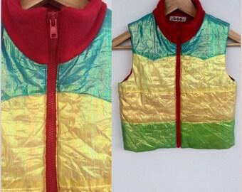 Vintage Kids Vest, Vintage Kids Bodwarmer,Silk Bodywarmer, Rainbow Bodywarmer, Metallic Bodywarmer, Gilet, Age 4 5 6