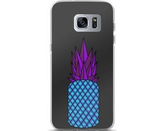 Retro Pineapple Samsung Case, original design, neon, blue, purple, grey, gift idea, present, phone case