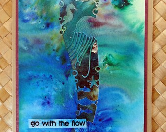 "Ocean  Hawaiian birthday card with underwater ocean scene cutout ""go with the flow"""