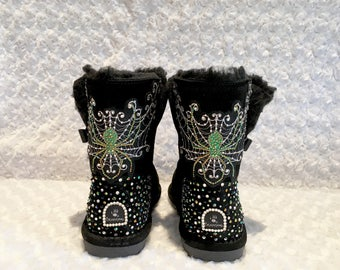 Custom Logo Bling Boots Rhinestone Dance Team Boots Kids Custom Crystal Boots
