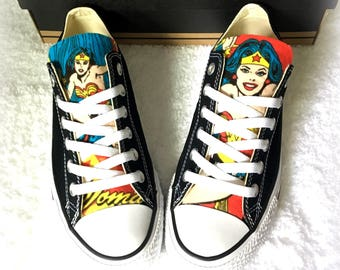 Wonder Woman Converse | Wonder Woman Shoes | DC Comics Converse | Comic Character Shoes | Wonder Woman