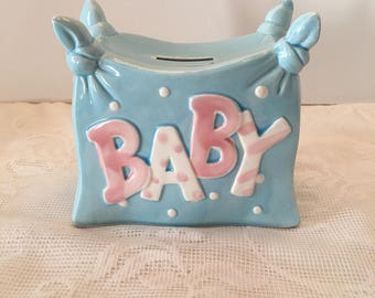 Lefton Bank ~ Baby Bank ~ Child's Bank ~ Japan ~ #03859 ~ Blue & Pink ~ Nursery Decor ~ Baby Shower ~ Vintage