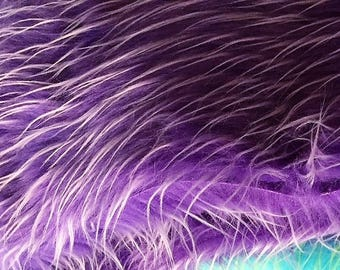 """PURPLE with White Frosted Highlights~ Faux Fur Shaggy Long Pile Fabric~ 30"""" x 52"""""""
