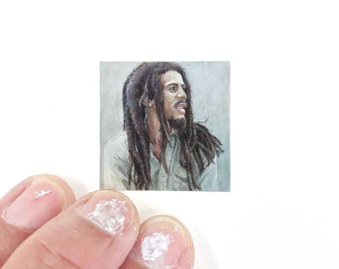 Print of miniature watercolor painting of Bob Marley.  giclee print of Jamaica bob Marley