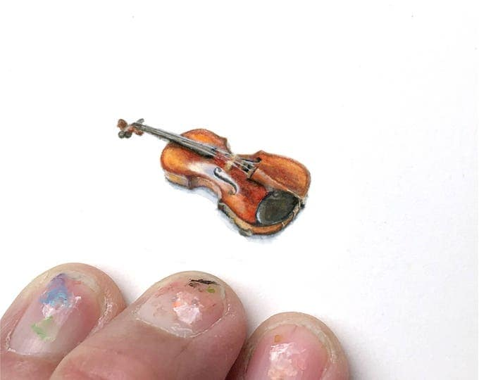 Print of Miniature painting of an violin. tiny painting violin musical instrument art