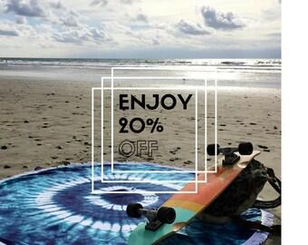 NOW SALE 20% Hippie Turquoise Round Beach Yoga Luxury Towel Bohemian Blanket