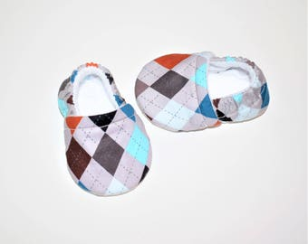 Baby booties Argyle Print multiple color (Prints vary), Crib shoes, Baby Gift, Baby shower Gift