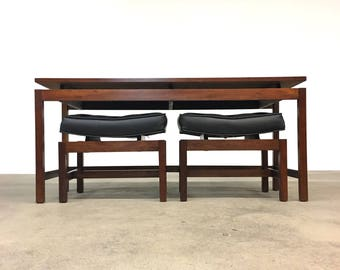 Jens Risom | Curved Top Stools + Table | Mid Century richbilt
