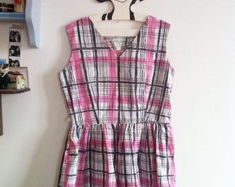 1950s mini beach dress checkered pink & grey pattern / small - medium